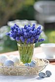 Vase mit Muscari in Korbschale mit Ostereiern