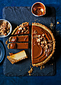 Salted caramel and pretzel cheesecake