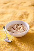 Sweet polenta pudding with vanilla and cinnamon