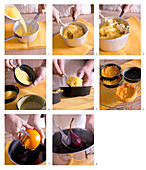How to make polenta tartelettes with red wine pears