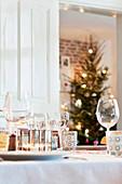 Table set for Christmas meal