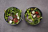 Quick summer bowls with edamame and mini mozzarella balls