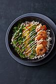 Wild rice bowl with prawns