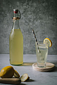Delicious elderflower syrup in glass and bottle