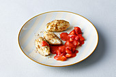 Semolina dumplings with strawberry compote