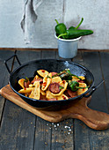 Spicy pasta with fried peppers and chorizo