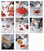 How to prepare wholegrain penne with baked cherry tomatoes and olives