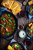 Smokey Beef and Bean Braise with Cornbread