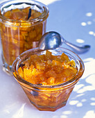 Orange marmalade in a glass bowl