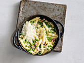 Quick one pot pasta with bacon, peas and cream cheese