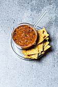 Vegan kidney bean sugo with nachos