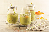 Wellness drinks with apricots, avocado and limes