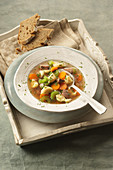 Soup with beef, vegetables and dumplings