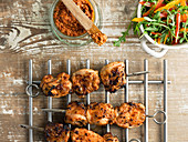 Chicken skewers on cooling rack