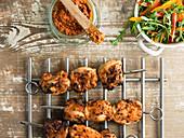 Chicken skewers on cooling rack