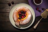 Round cherry cake