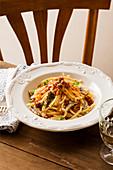 Scialatielli with tomato pesto and crunchy almond and sardine crumble
