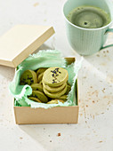 Green tea cookies with black sesame seeds