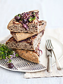 Olive focaccia with red onion