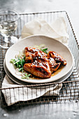 Chicken wings with soy honey glaze and fleur de sel