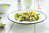 Green zucchini salad with black lentils and fresh mint