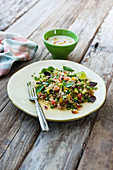 Vegetarian couscous salad with sesame sauce