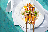 Grilled halloumi skewers with nectarines