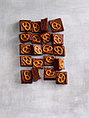 Chocolate cake with salted pretzels