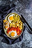 Two fried eggs mexican huevos divorciados
