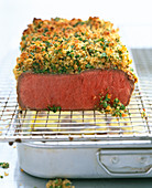 Roast beef with a green bean crust