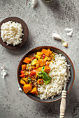 Vegetable thai curry with basmati rice
