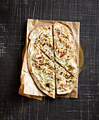 Jerusalem artichoke and apple tarte flambée with bacon