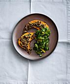 Baked pumpkin with a nut and herb crust