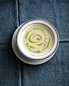 Cream of chicory soup with lamb's lettuce pesto