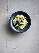 Parsnip pasta with lemon spinach
