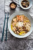 Pork belly spicy ramen with mushrooms