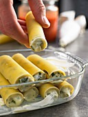 Potato cannelloni in a glass baking dish