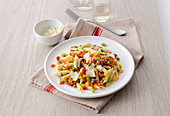 Penne with peppers, anchovies and pecorino