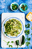 Jalapeno and cilantro pasta