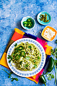 Mexican spaghetti with jalapeno creamy sauce