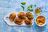 Roasted bell peppers bruschetta