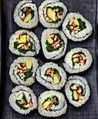 Maki sushi with mushrooms and avocado