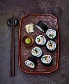 Maki sushi with chilli and prawns