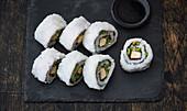 Uramaki sushi with tofu and asparagus