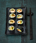 Maki sushi with crayfish and courgette