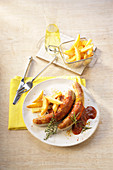 Bratwurst with chips