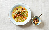 Vegan vegetable soup with buckwheat