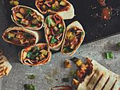 Breakfast burritos with avocado