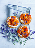 Tartlets with caramelized apricots and lavender flowers