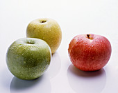 Three different colored apples with drops of water
